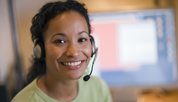 woman on a headset